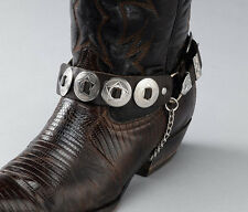 NEW! Western Brown Leather Boot Chains - Silver Conchos