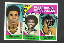 Autographed James Silas Dave Robisch 1975-76 Topps Card #224 Spurs Nuggets