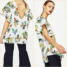 Zara Tropical Floral Oversize Ruffle Top Lace Up Open Back Size M Blogger ❤