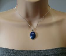Lapis Lazuli Oval Gemstone Mounted Pendant & Necklace Stunning Gift For Her!