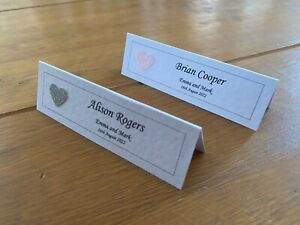10 Wedding Name Place Cards - Personalised - Choice of Any Colour Glitter Heart.