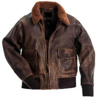 Mens Aviator G-1 Flight Jacket Real Distressed Brown Leather Bomber Jacket