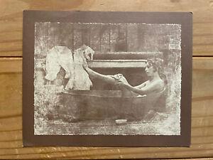 "R. Hendrickson 7.5"" x 6"" SEPIA PRINT Lady in the bathtub Vintage 1970's"