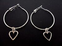 A PAIR OF SILVER PLATED  LARGE 35MM HOOP & HEART  EARRINGS. NEW.