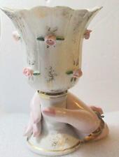 Vintage  Porcelain Figural Hand Holding Vase Floral Design