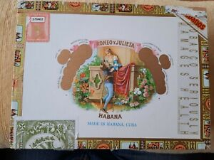 Romeo Y Julieta Habana decorative paper covered wooden hinged empty cigar box