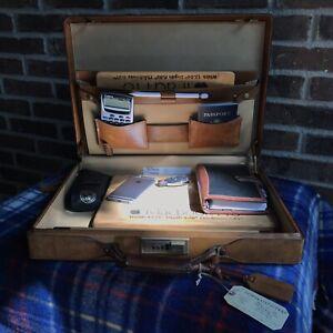 VINTAGE 1980's HARTMANN TAN BELTING SADDLE LEATHER HARDSIDE BRIEFCASE BAG R$1598