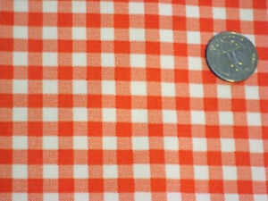 ORANGE GINGHAM CHECK KITCHEN PATIO DINE BBQ OILCLOTH VINYL TABLECLOTH 48x96 NEW