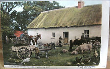 Vintage Postcard IRISH FARMYARD Decent Cot Tops Hill Cart Pigs Ireland Lawrence
