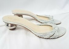 KATE SPADE NEW YORK Metallic Silver Glitter Mirror Ball Heel Open Toe Sandal 8M