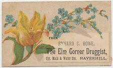 RARE 1870s Victorian Trade Card Elm Corner Druggist Haverhill MA Richard C Howe