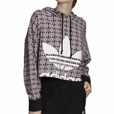 adidas Trefoil Allover Print Hoodie Magic Berry Black Damen Kapuzenpullover Pink