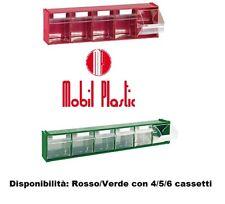Cassettiera con 4 cassetti basculanti componibile. Verde/Rosso mm 600X178X206h