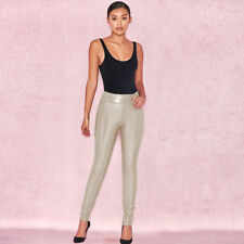US Stock Wet Look Leather High Waist Leggings Slim Long Pencil Pants Trousers