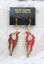 Art Deco Genuine Cloisonne Enamel Red Deer Earrings 1970s Vintage Christmas Yule