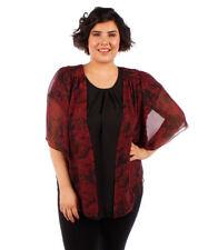 Womens TIE DYE Plus Size 3X Burgundy Chiffon Cardigan Bolero Shrug Top