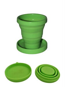 Reusable Silicone Folding Coffee Cup Flatpacked for Travel with Lid/Saucer 175ml