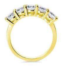 5 Brilliant Round Diamond 2.35 ct 14K Yellow Gold Band Anniversary Ring G-Si1