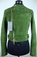 DSQUARED2 Leather Jacket S72AM0402 Damen Lederjacke Gr.34 Grün NEU mit ETIKETT