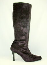 9.5 M Black Boots Knee High Pull On Stretch Velvet Witchy Posh Goth Steampunk