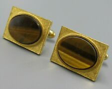 Mens Vintage TIGER EYE OVAL CUFFLINKS Costume Jewelry V101