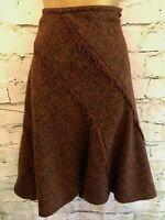 DKNY Ladies Rust Woven Boucle Wool Mix A-Line Skirt US 4 UK 8 EU 36