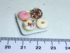 1:12 Scale 4 Donuts  on a Plate 10  Doll House Miniatures