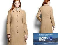 $199 NWT Lands End Womens Wool Car Coat 12 Camel