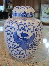 "Vintage Phoenix bird, ""flying turkey"" blue & white 5"" H Ginger Jar & cover-Japan"