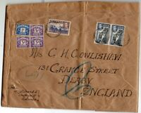 1938 Ceylon Sg 391/395 & Sg D30/33 on Wrapper from Columbo to Derby