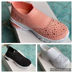 Kelsi infants children girls Glitter Sparkle slip on trainers shoes