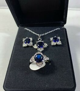 new Contessa De Capri set created Sapphire necklace /earrings and ring size 8