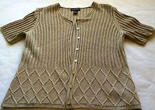 Van Heusen Short Sleeve Beige/Tan Ribbed Knit Cardigan~L~Cotton Blend