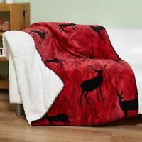Red Throw Blanket Christmas Stag Fleece Sherpa Cosy Winter Sofa Blankets