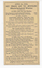 1926 RARE Dealer's Net Price List To Jewelers, Illinois-Springfield Watches
