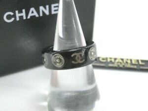Auth CHANEL CC Ring Snap Motif 03A Black France Free Shipping 39170177000 P