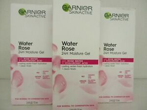 3 GARNIER SKIN ACTIVE WATER ROSE 24HR MOISTURE GEL  2.4 OZ EA. EXP 6/22+ AH 3131