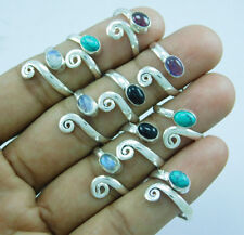 New Look 925 Silver Overlay Mix Gemstone 10 pcs Adjustable Toe Ring Lot-179