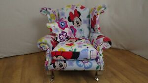 Child size Queen Anne style chair in Floral Minnie Mouse Theme