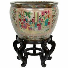 "Oriental Furniture 18"" Rose Medallion Porcelain Fishbowl"