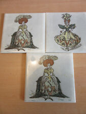 "Lot of 3 vintage Wheeling 6"" ceramic tiles Woman in large dress & hat"