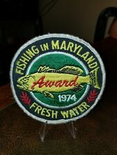 """Vintage 1974 """"Fishing In Maryland"""" Award Patch 4"""""""