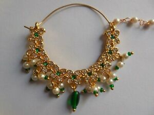 Indian Bridal Nose Ring With Chain Gold Plated Hoop Nath Piercing Cute Jewelry