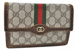 Auth GUCCI Web Sherry Line Double G Pouch Long Wallet PVC Leather Brown D0098