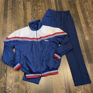 Vtg 70s 80s Wilson Track Suit Jacket Pants Polyester Tennis Navy Mod Mens MEDIUM