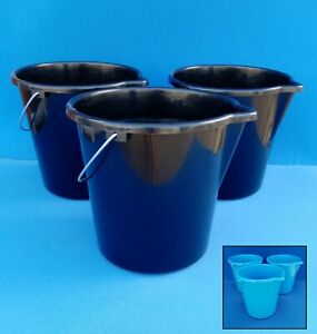 9L Plastic Bucket x 3 with Metal Handle and Pouring Spout Made in Australia