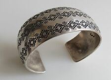 Triple diamond back snake desert sun VTG wide Navajo old pawn cuff bracelet