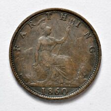 GB VICTORIA 'BUN HEAD' FARTHING 1860 TB ++ SHARP GRADE!! ++ [904-05]