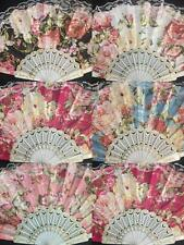 12x Spanish Style White Dance Party Wedding Lace Gold Flower Folding Hand fan
