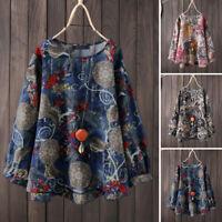Vintage Femme Haut Ample Casuel Impression couleur Col Rond Shirt Tops Plus